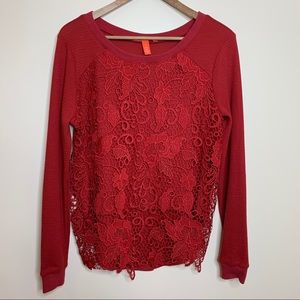 Chelsea & Violet Red Lace Waffle Knit Thermal Tee